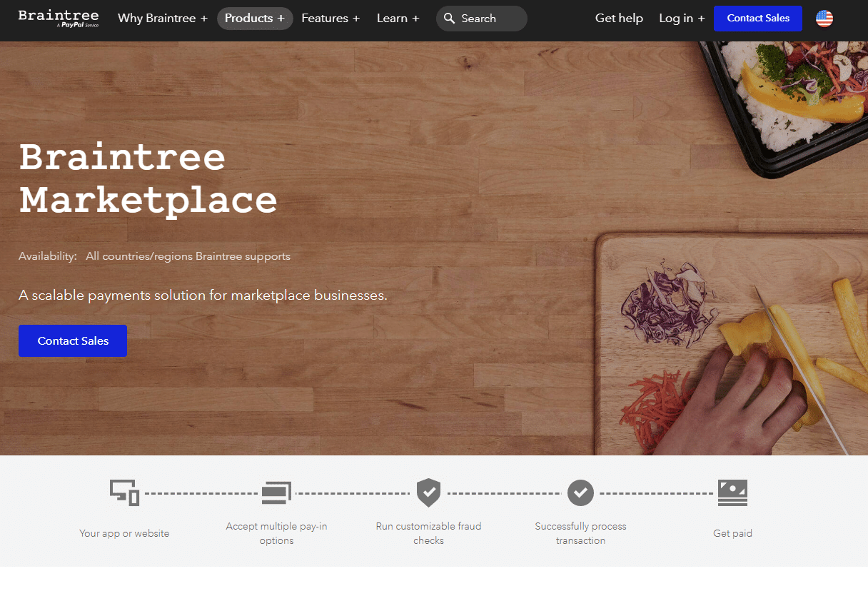 Braintree Market, página del producto, capturas de pantalla.