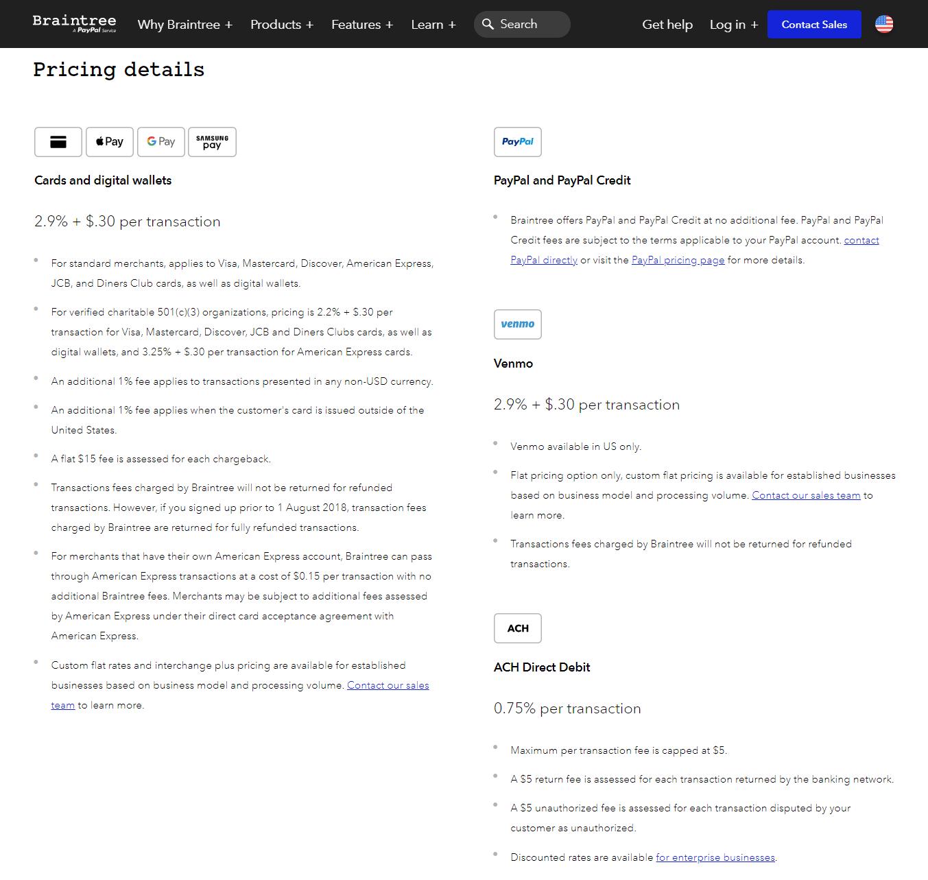 Página de información de precios de Braintree.