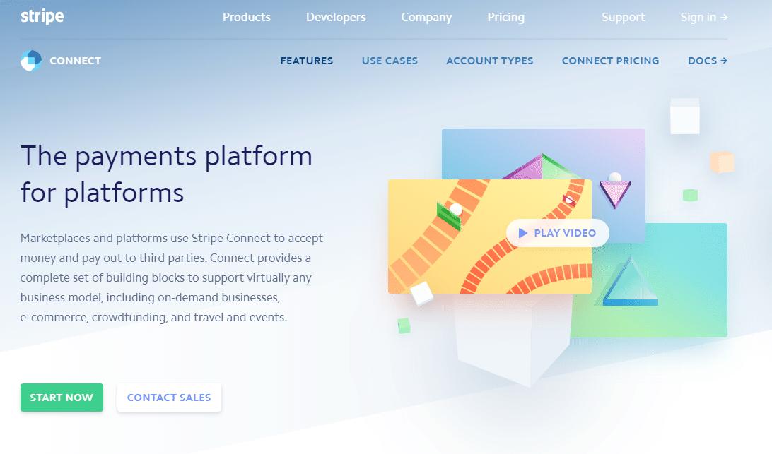Página del producto Stripe Connect, captura de pantalla.