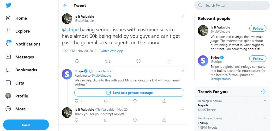 Tweets de clientes de Stripe.