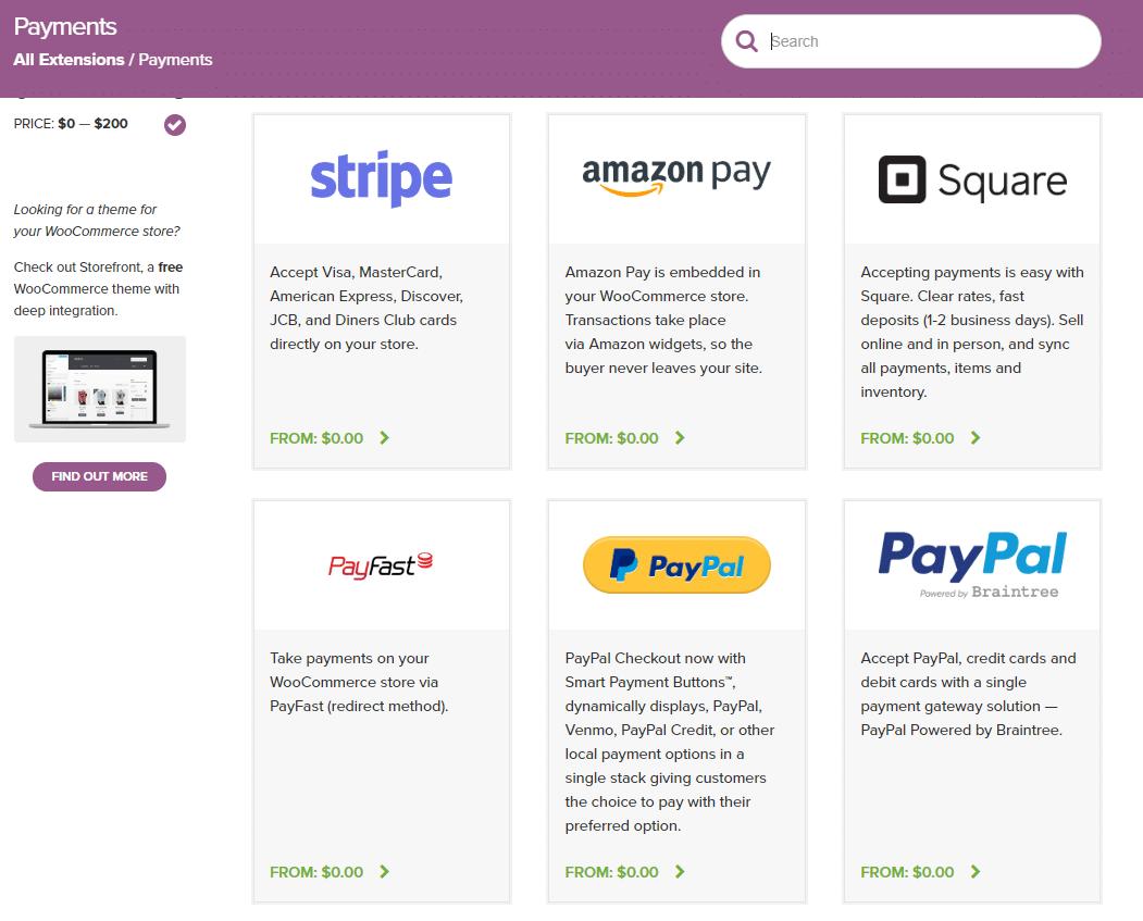 Extensión de WooCommerce para pago.