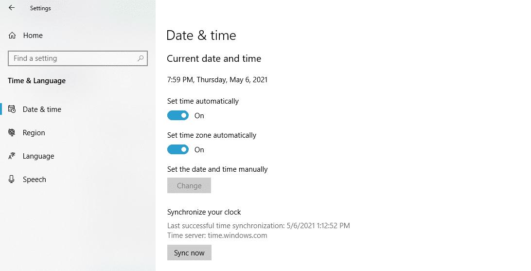 Sincronice la hora en Windows.