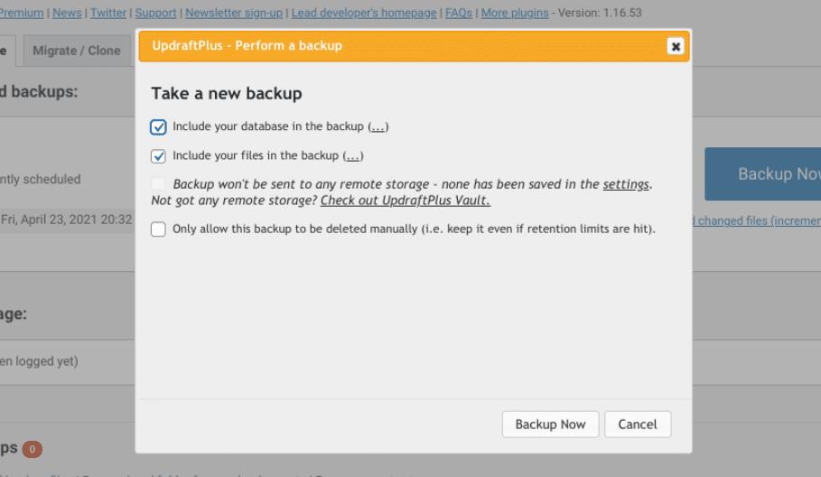 Seleccione los elementos que se incluirán en la copia de seguridad de WordPress.