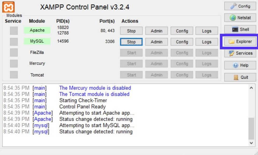 El botón Explorador del panel de control de XAMPP abre el explorador de archivos.
