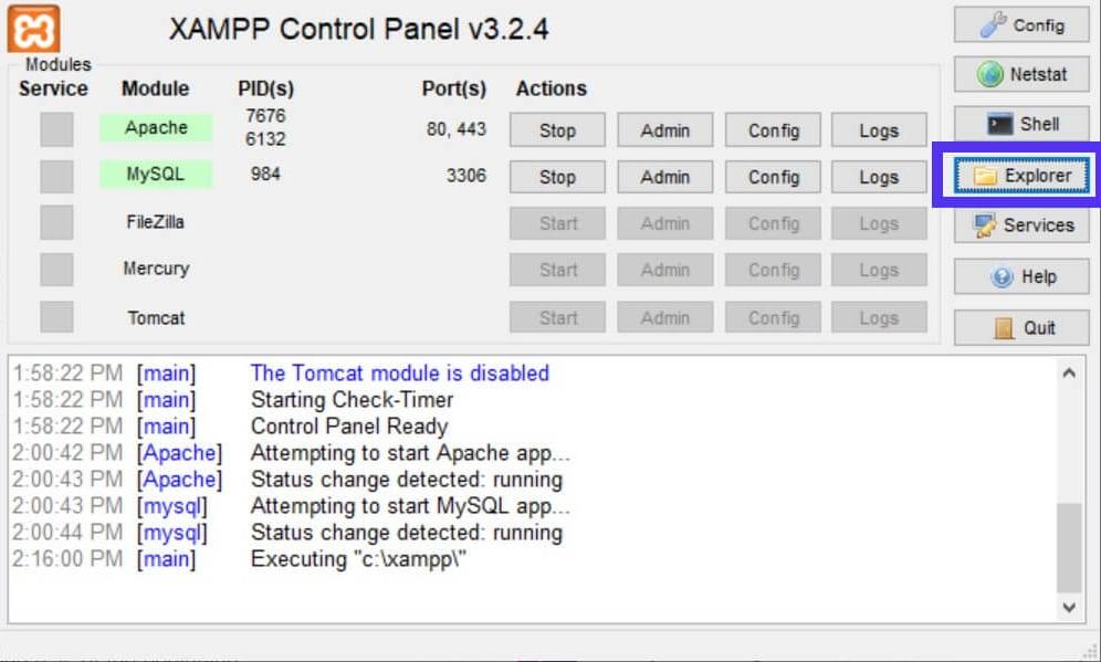 Botón Explorer en el panel de control de XAMPP.