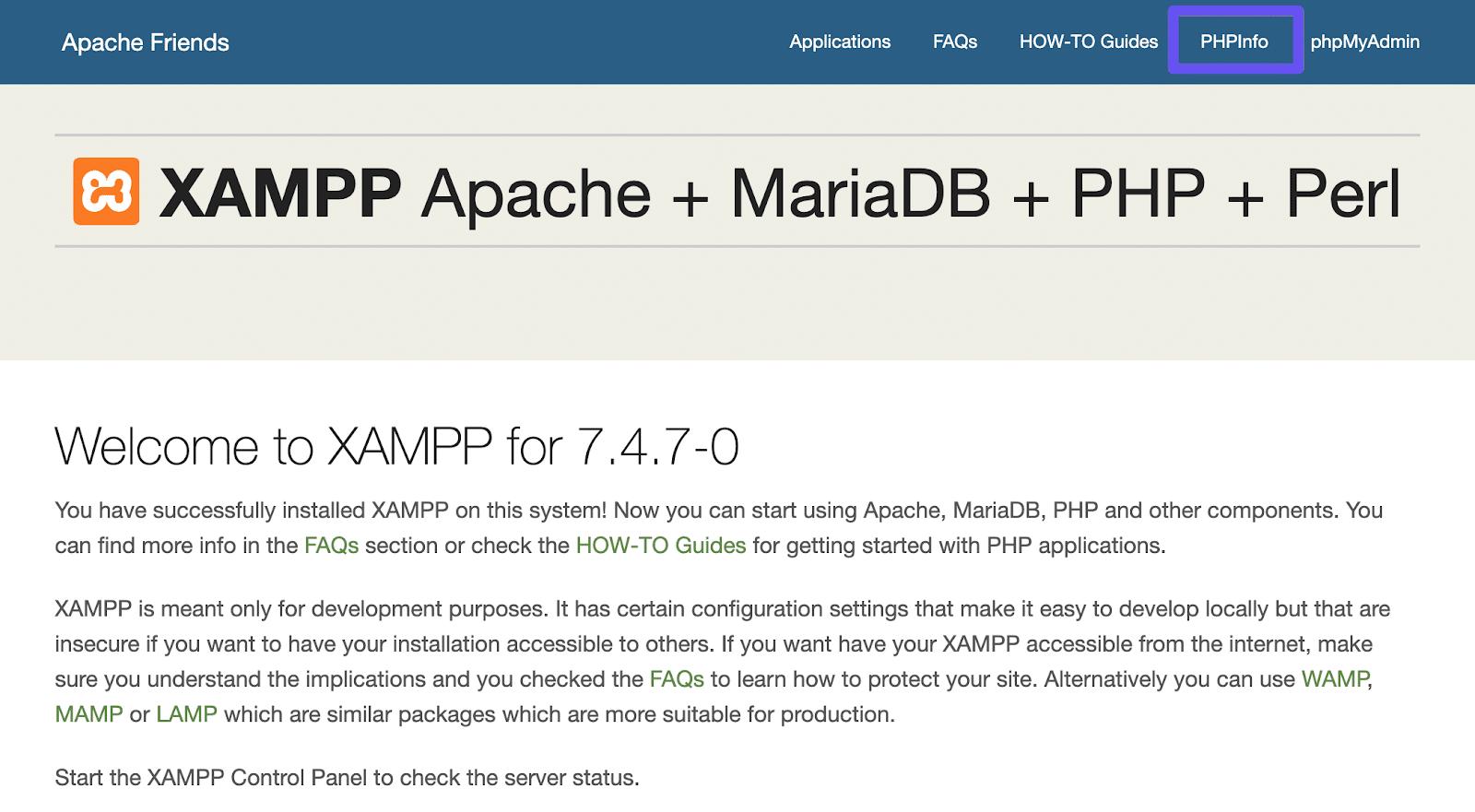 Enlace PHPInfo en el panel de control de XAMPP.