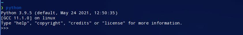 Shell de Python 3.9 que se ejecuta en Linux