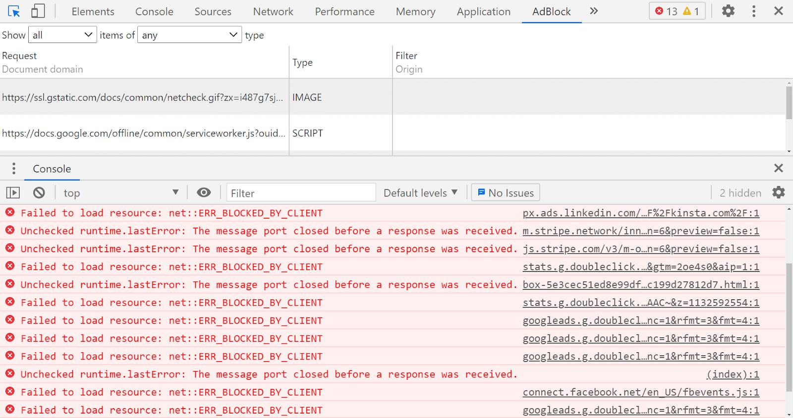La consola de Google Chrome está configurada en la pestaña AdBlock Plus y muestra varios mensajes de error rojos.