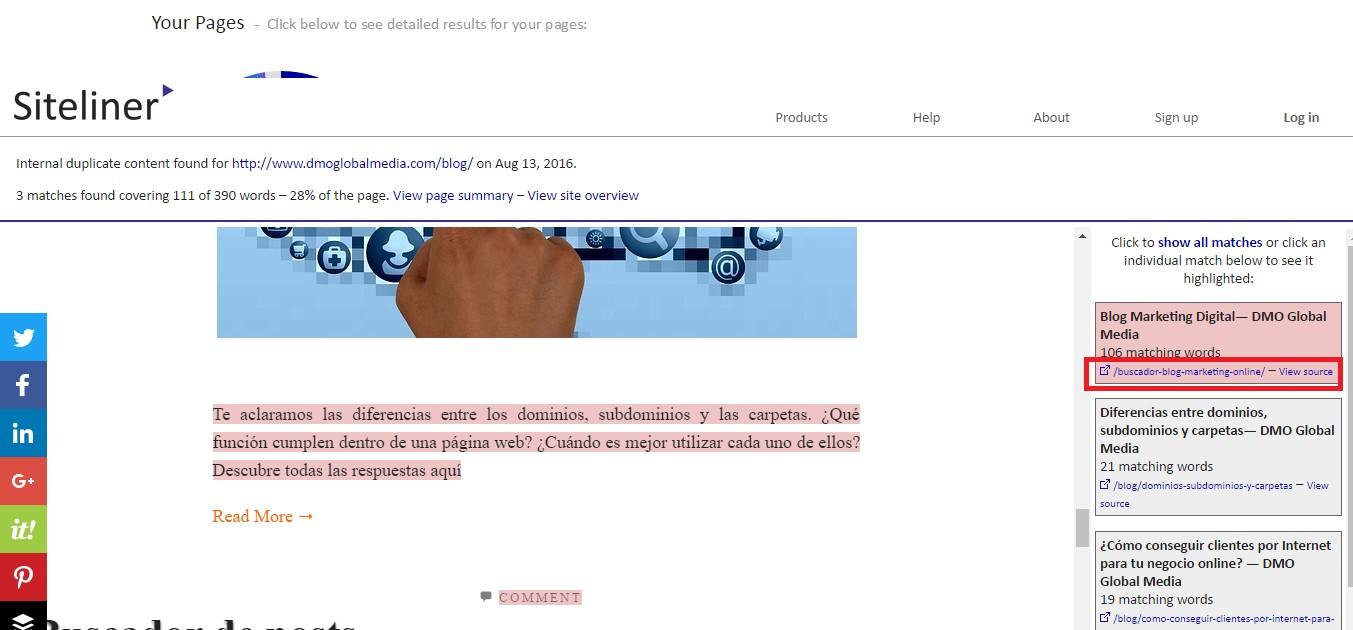 Sitio web interno con contenido duplicado, forrado con texto duplicado