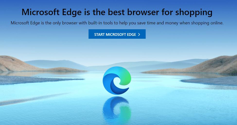 Página de inicio de Microsoft Edge.
