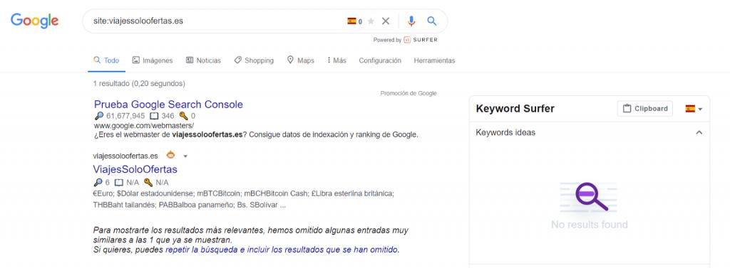 La búsqueda de análisis de dominios caducados todavía se encuentra en el índice de Google