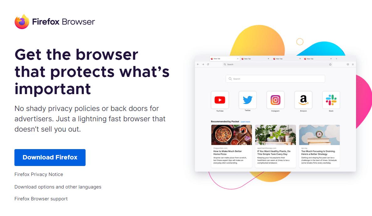 Página de inicio de Firefox.