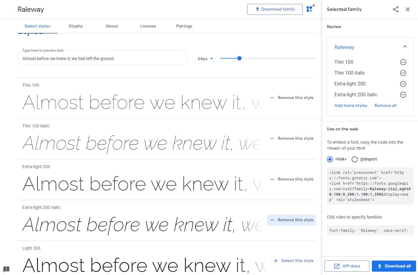 Elija una fuente de Google Fonts.