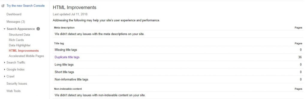 Herramienta de contenido duplicado Google Search Console