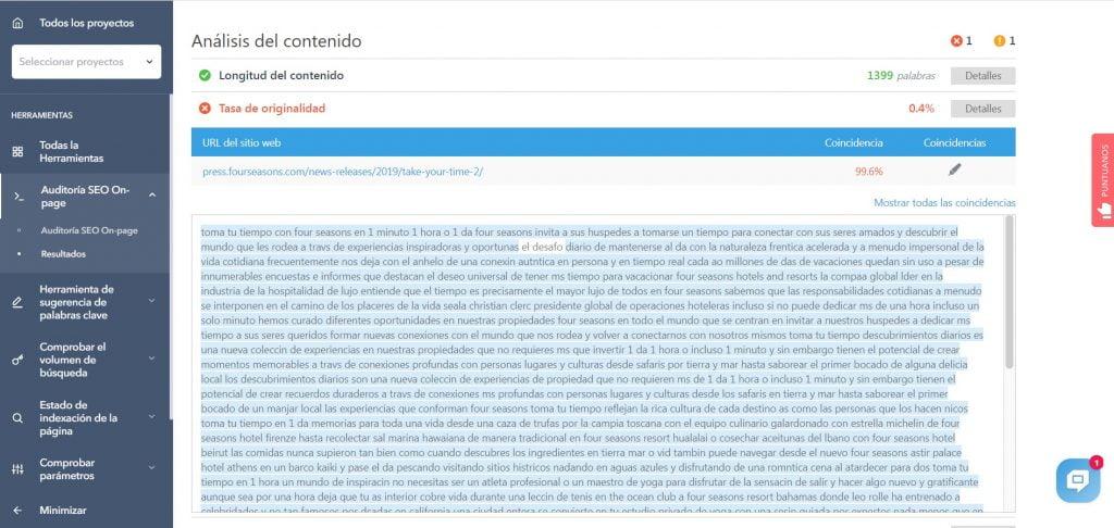 Herramienta Contenido duplicado Optimización del motor de búsqueda Tasa de búsqueda original