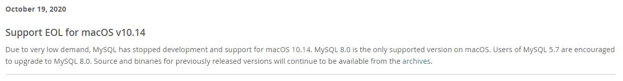 Se suspendió el soporte para MacOS v10.14