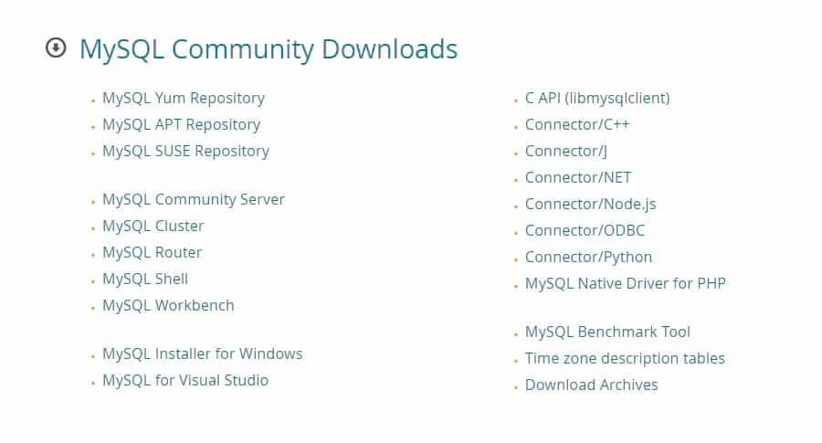 Descarga de la comunidad MySQL