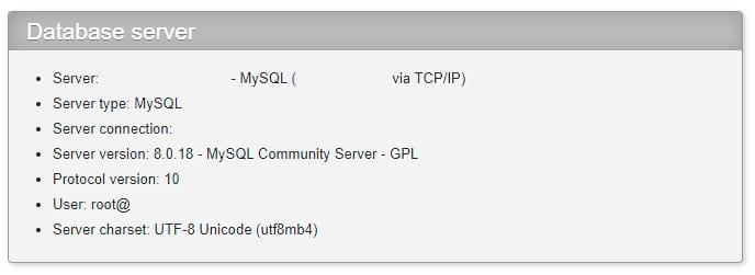 Verifique la versión MySQL de phpMyAdmin