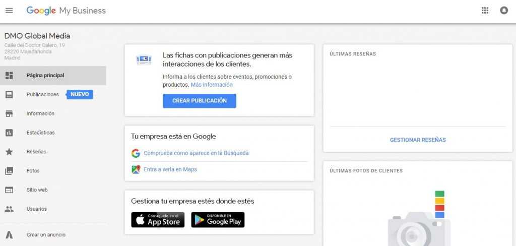 Posicionamiento de optimización en buscadores locales por Google My Business