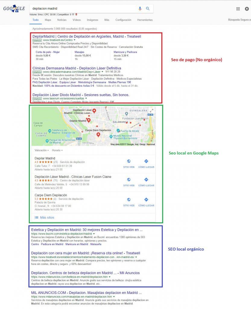 Posicionamiento de optimización de motores de búsqueda local de los resultados de Google
