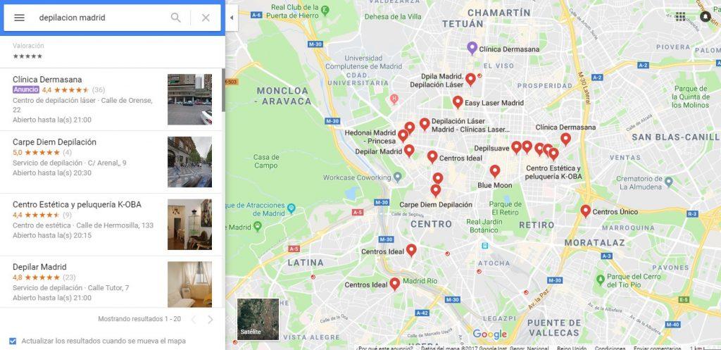 Posicionamiento en buscadores locales mapa de resultados de Google