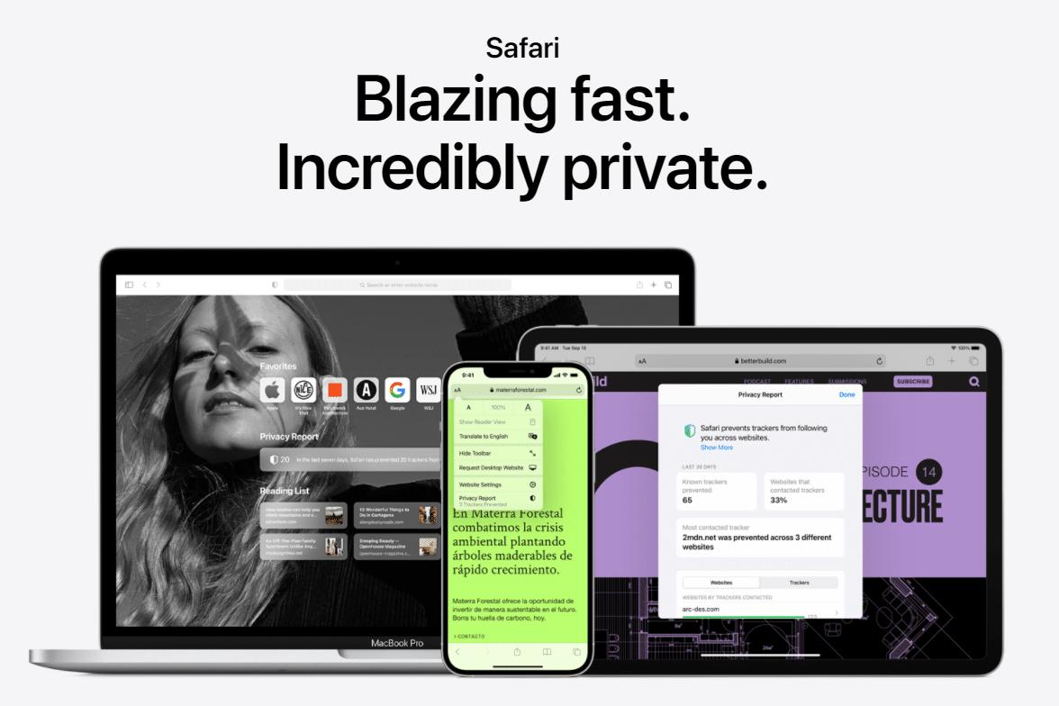 Página de inicio de Safari.