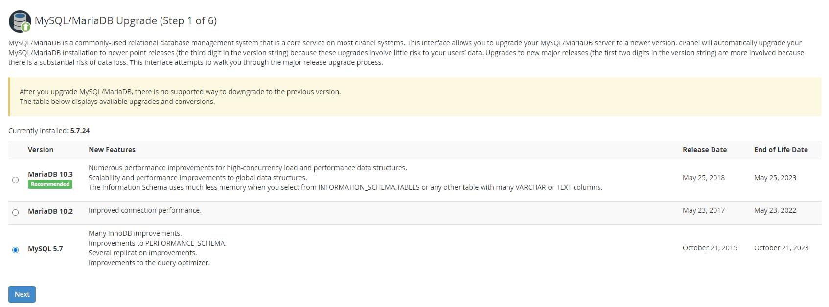Actualización de cPanel MySQL de gestión de alojamiento web