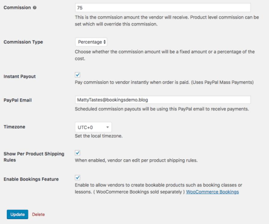 Proveedor de productos Panel de configuración de complementos de múltiples proveedores WooCommerce.