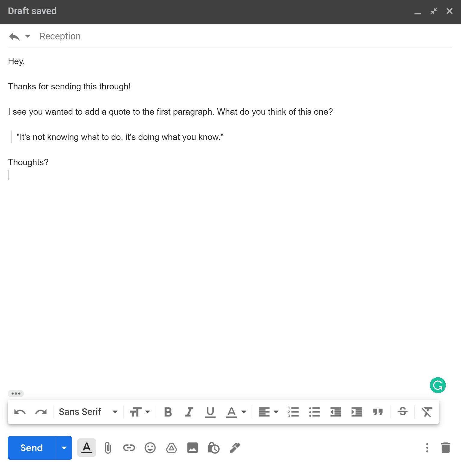 El correo electrónico de muestra muestra la sangría en el texto y el formato de la cita del marco.