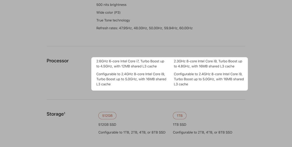 Muestra las especificaciones de Apple MacBook con una memoria caché incorporada.