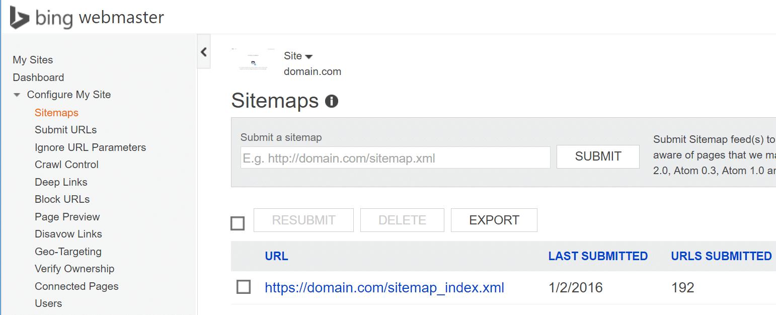 Herramienta para webmasters de Bing https