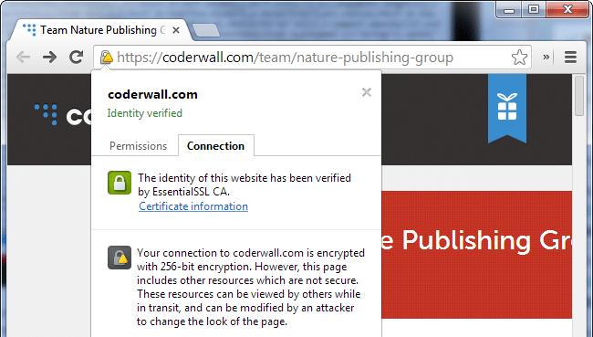 Advertencia de contenido mixto de Chrome