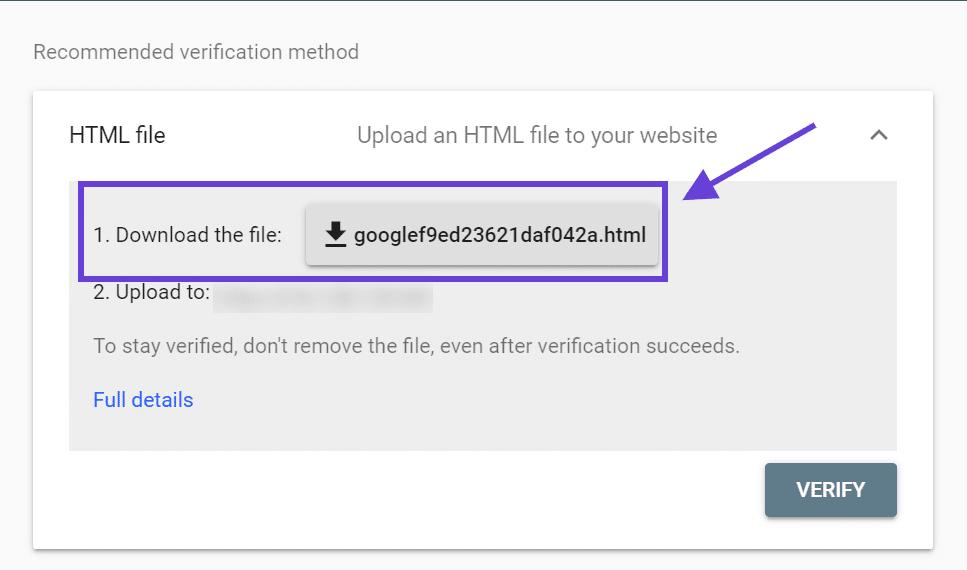 Una ventana donde puede descargar archivos de verificación de Google Search Console.