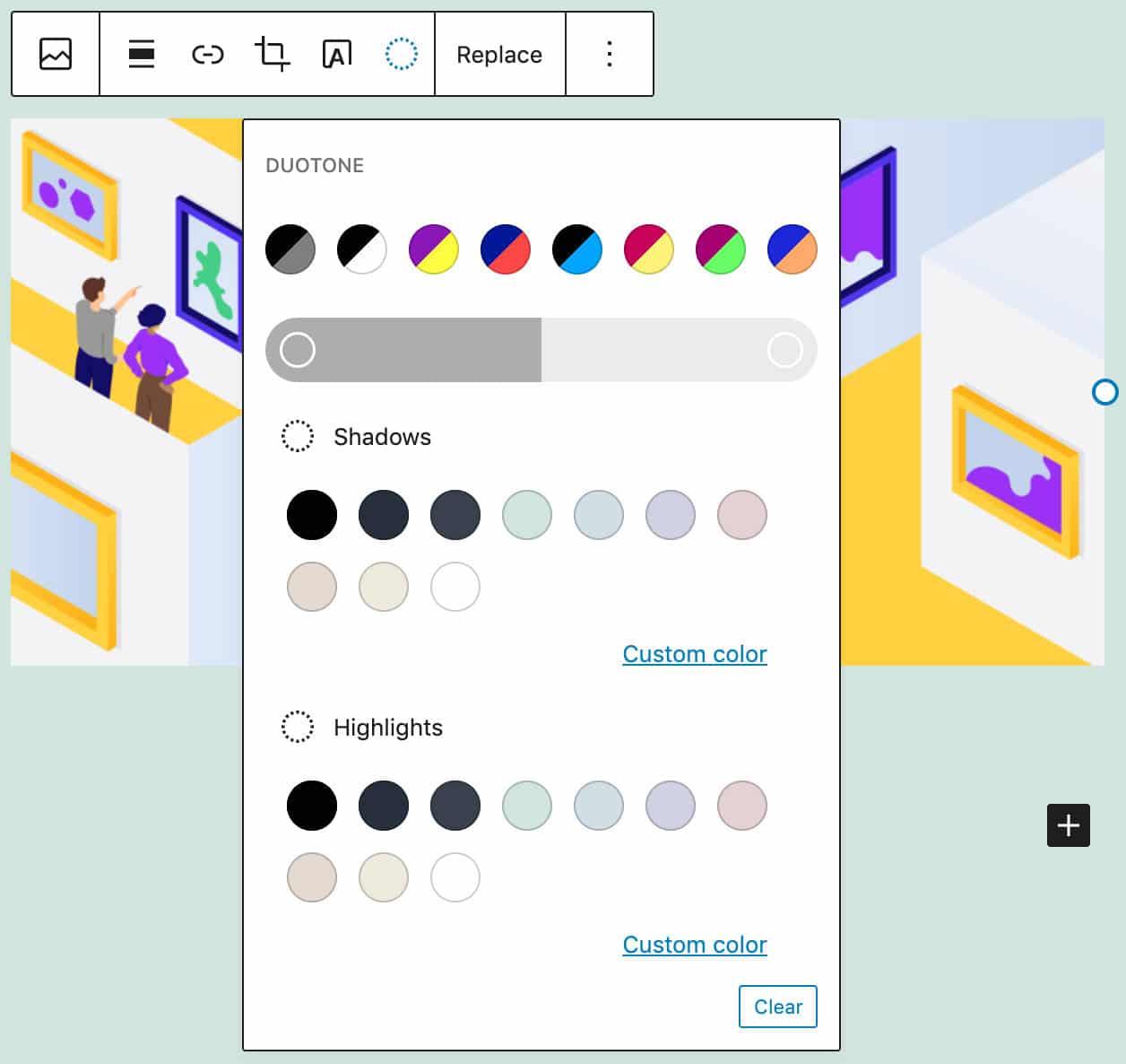 Nueva herramienta de diseño de dos tonos en el bloque de imágenes.