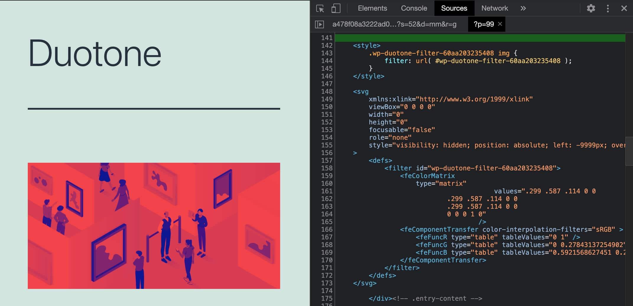 Consulte el filtro Duotone SVG en Chrome DevTools.