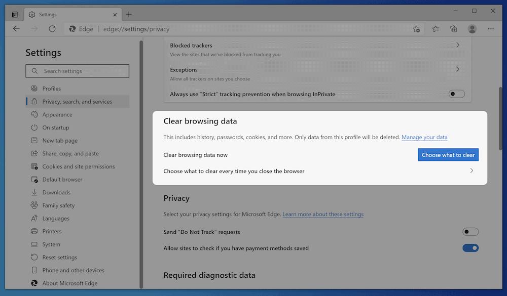 Opciones de almacenamiento en caché de Microsoft Edge.