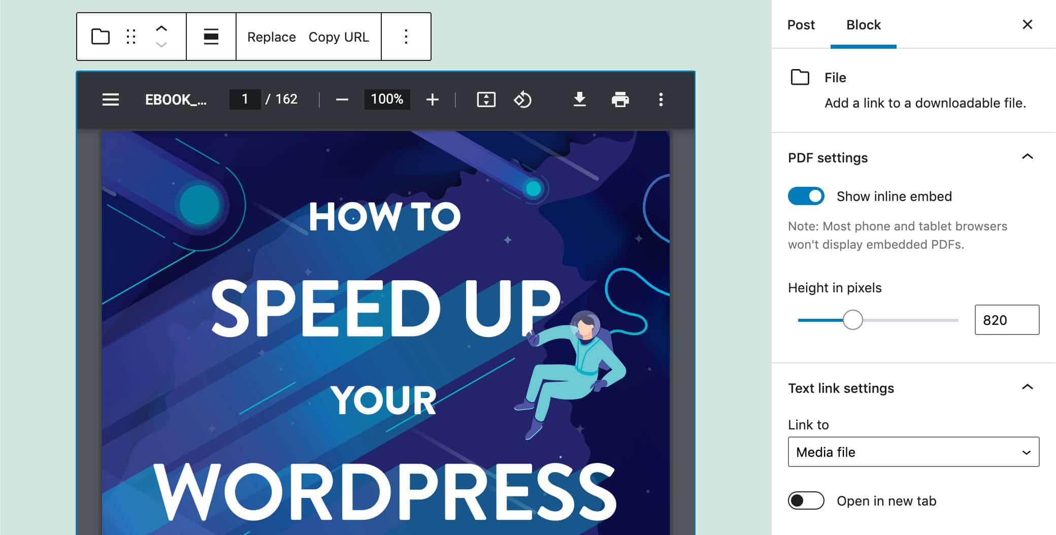 PDF incrustado en WordPress 5.8.