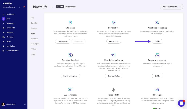 Active el modo de depuración de WordPress en MyKinsta.