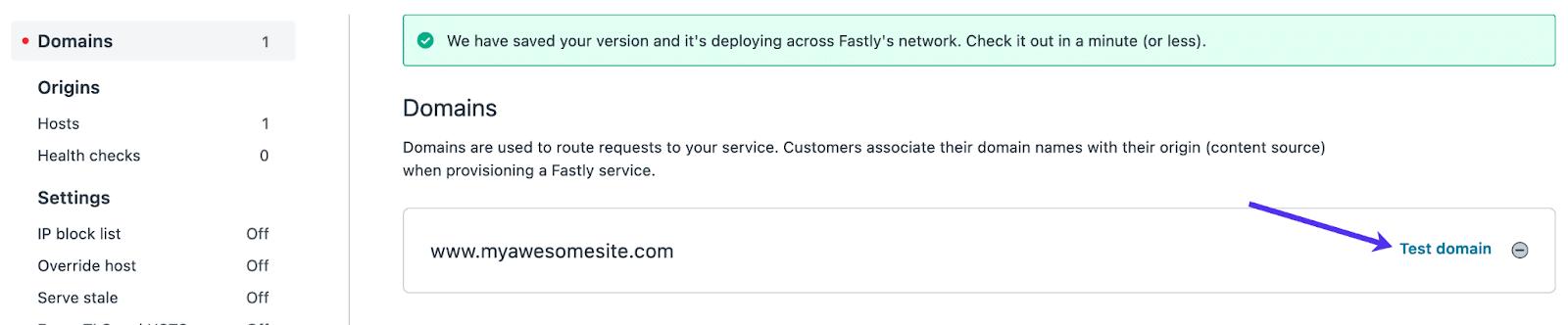 Abra el área de prueba Fastly.
