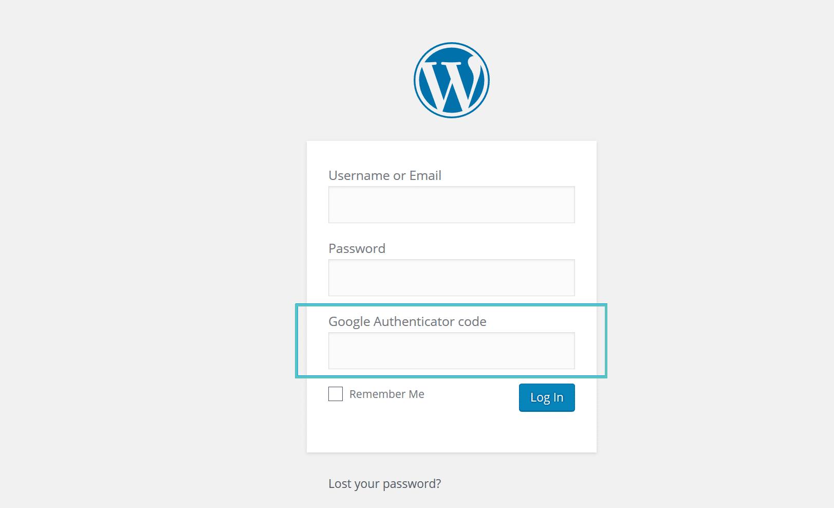 Inicio de sesión de WordPress en Google Authenticator