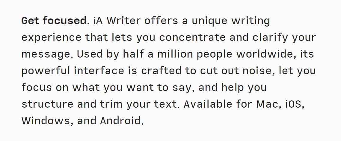 La pantalla IA Writer Markdown Editor comienza de la siguiente manera: