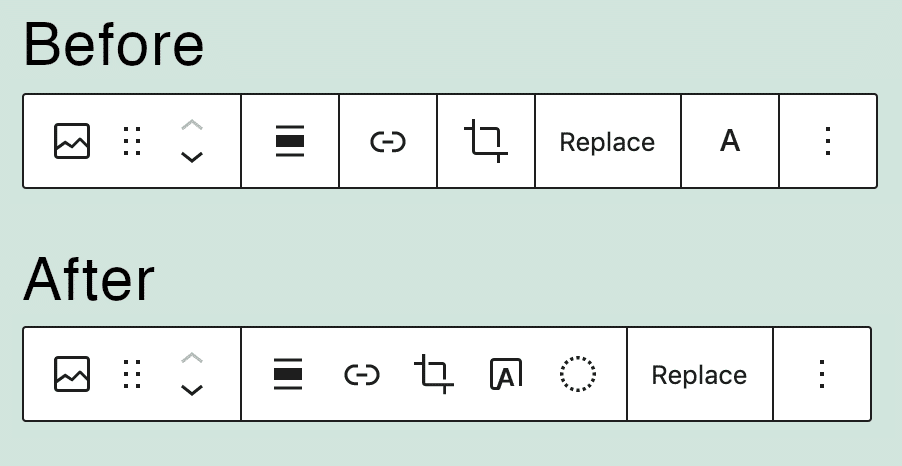Barra de herramientas Image Block en WordPress 5.7 y WordPress 5.8.