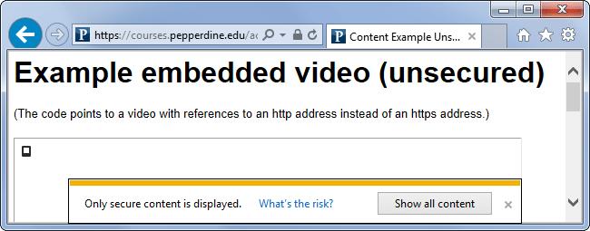 Advertencia sobre contenido diverso en un navegador de Internet