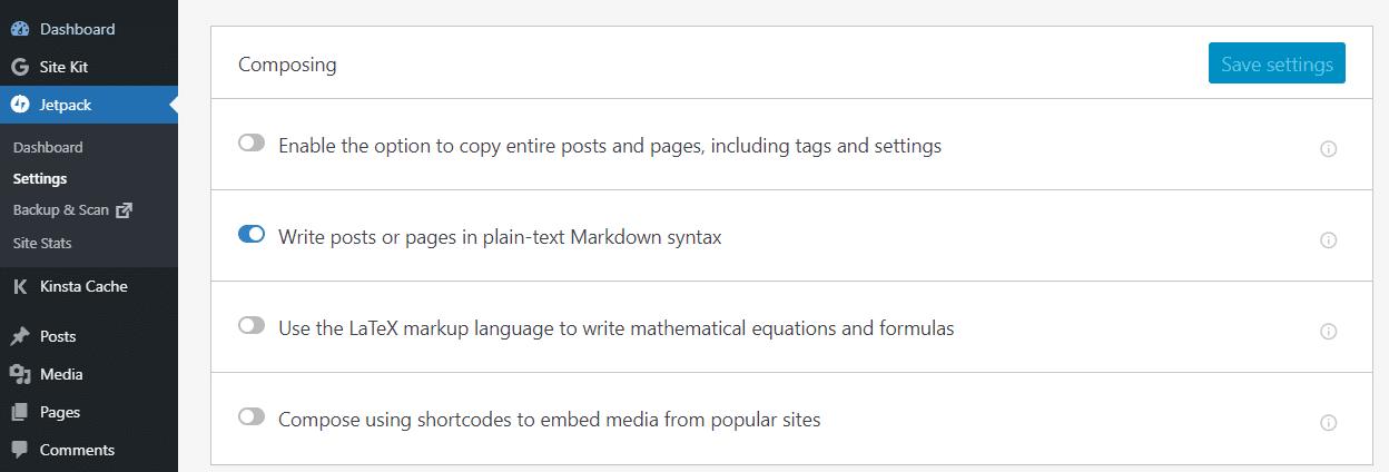 Opción en WordPress Jetpack para habilitar la sintaxis de rebajas en WordPress.
