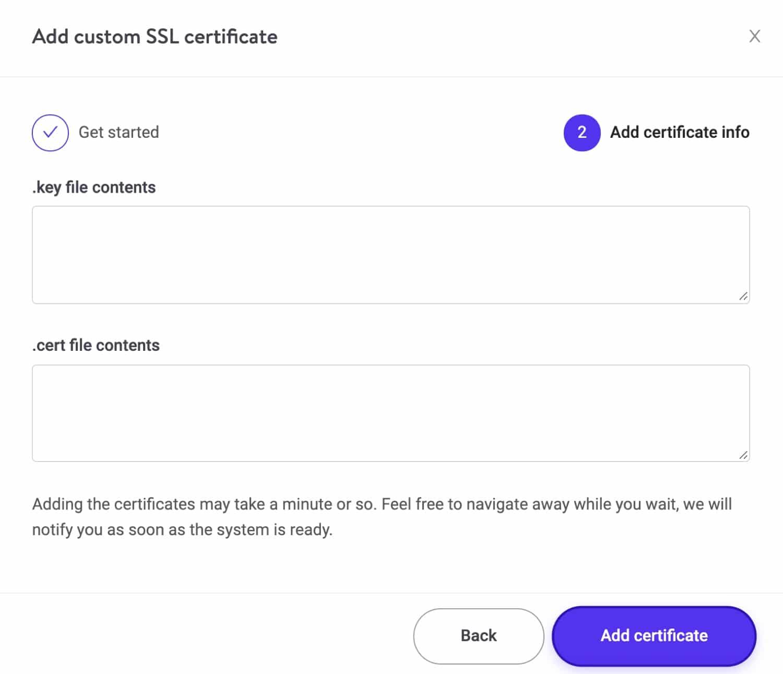 Agregue información SSL personalizada.
