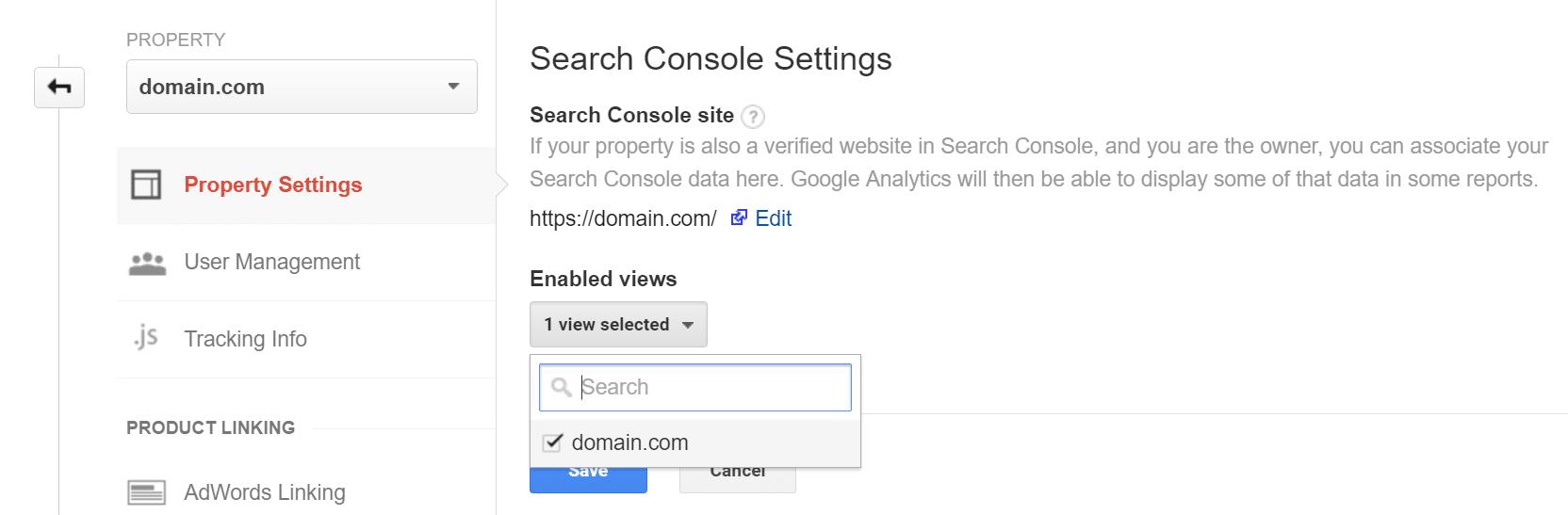 Enlace a la Consola de búsqueda de Google Analytics