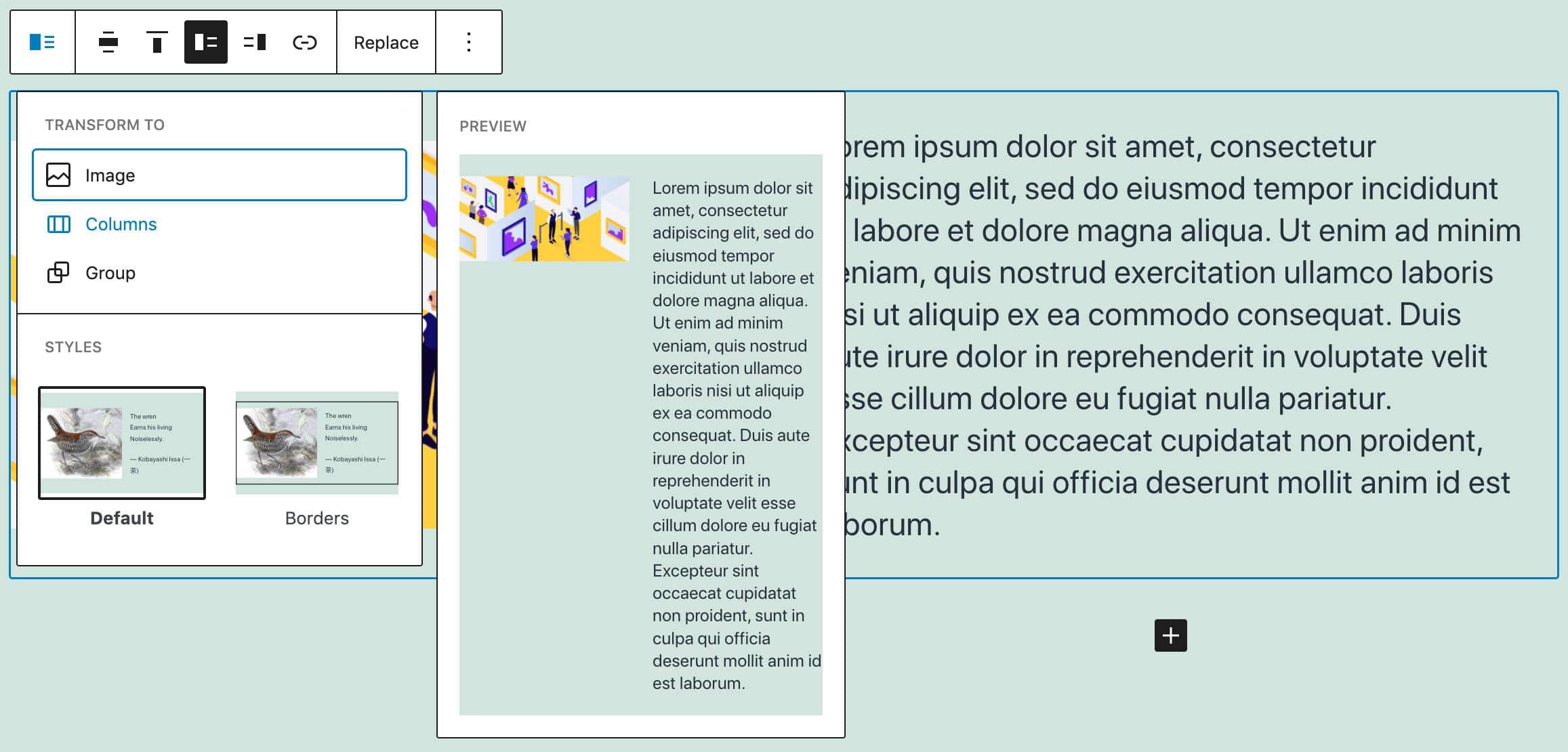 Convierta y aplique estilo a bloques de texto y medios.