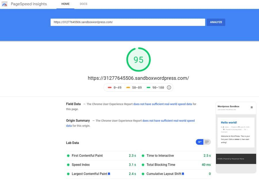 Información de PageSpeed