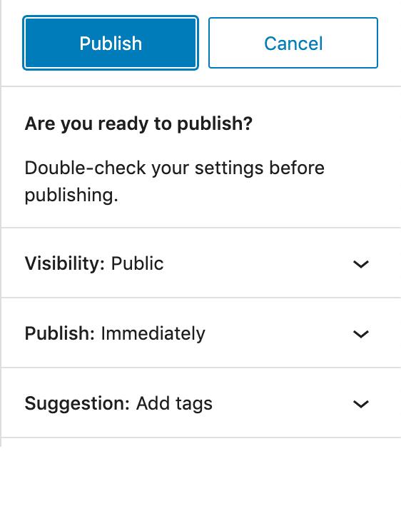 Publique la interfaz en WordPress 5.7.