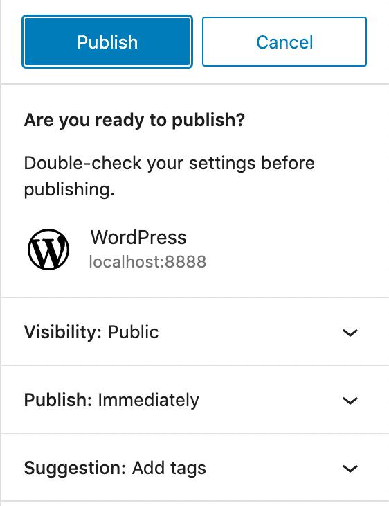 Publique la interfaz en WordPress 5.8.